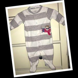 Carters fleece baby boy sleeper🐒EUC🐒